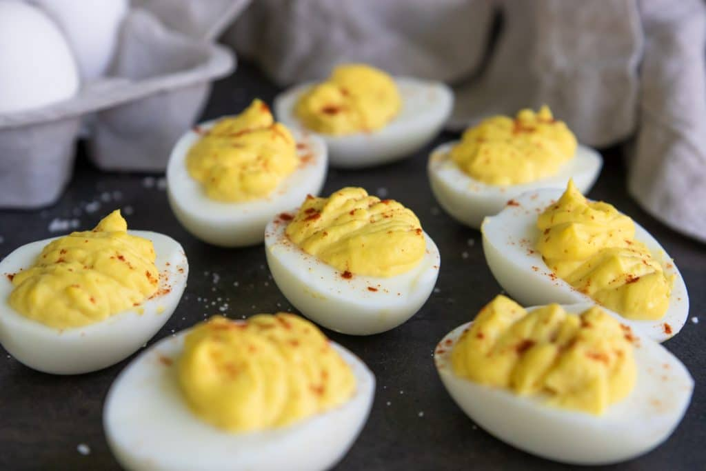 beautifully filled deviled eggs