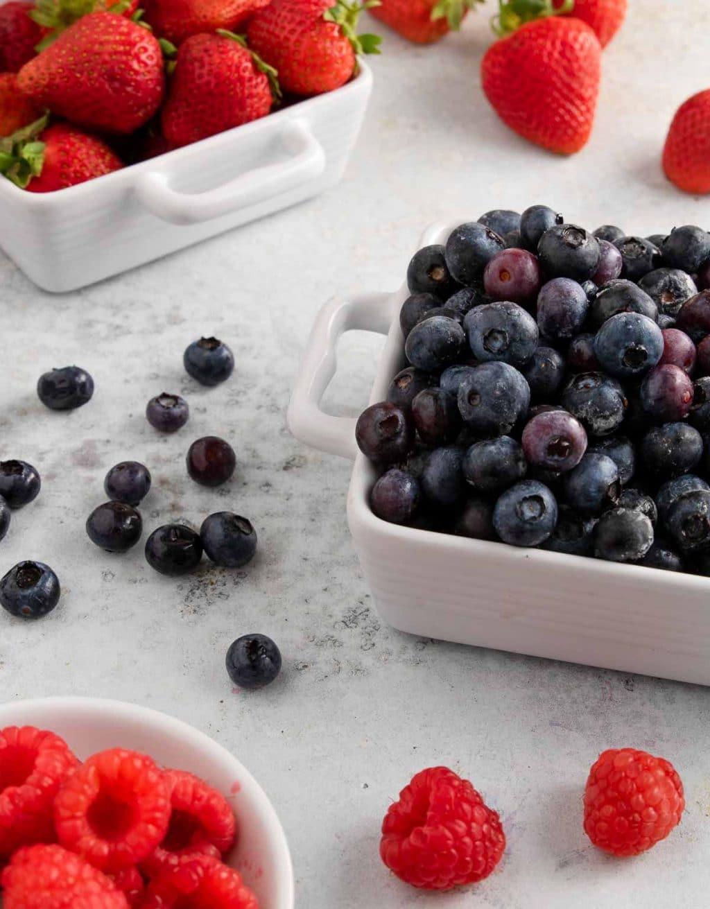 summer berries- blueberries, strawberries, raspberries