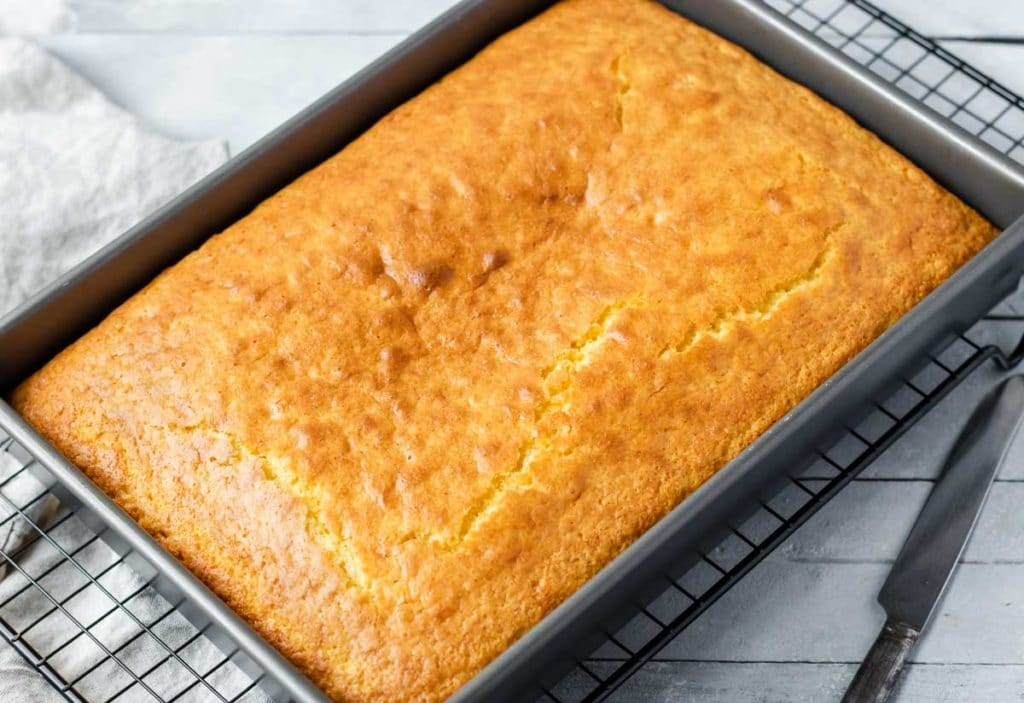 A 9x13 pan with baked golden brown best ever cornbread