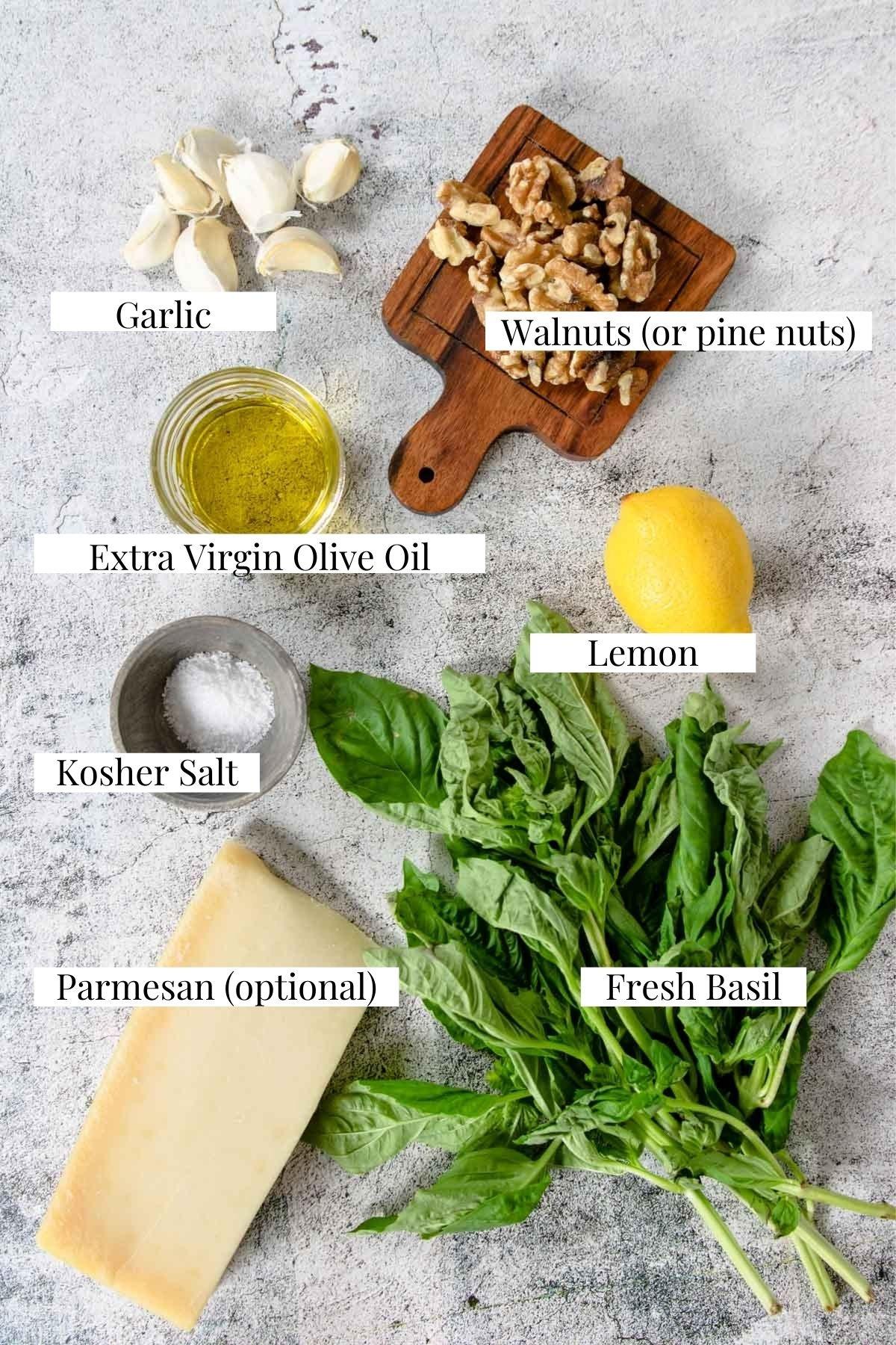 ingredients for making fresh basil pesto