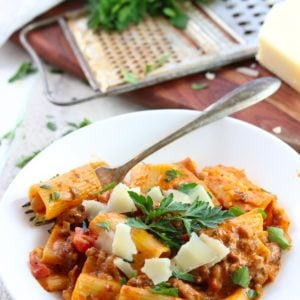 rigatoni in a bowl with sausage and sauce