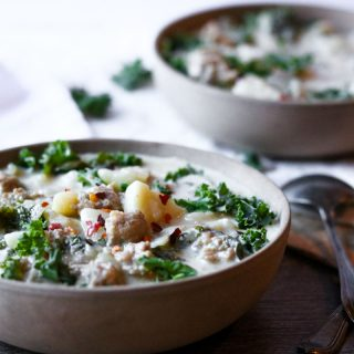 Two bowls of instant pot zuppa toscana soup