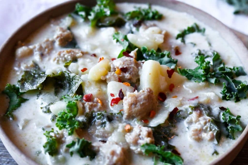A bowl of copycat zuppa toscana made in the instant pot