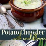 potato chowder with cauliflower pin image with text