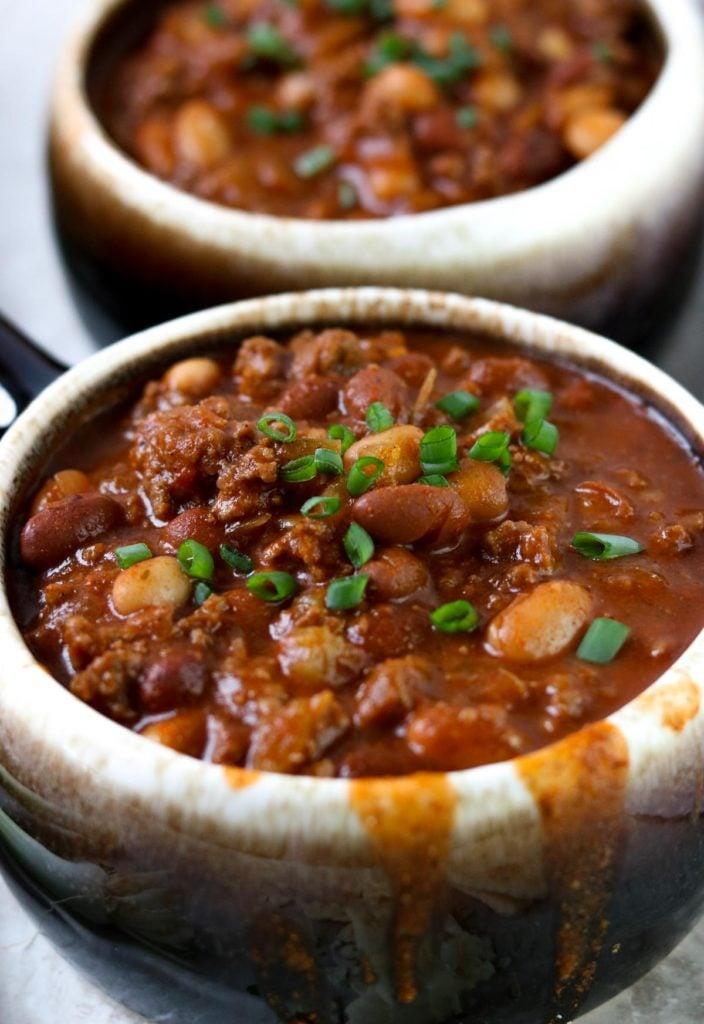 Classic chili in a bowl