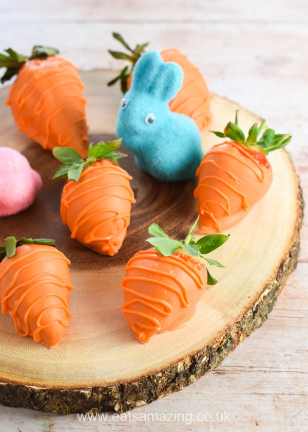 Easter chocolate covered strawberry carrots