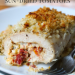 Crispy Chicken with Goat Cheese & Sun Dried Tomatoes is an amazing flavorful dinner entree that is simple to make. If you love goat cheese you will want to give this recipe a try! #goatcheese #dinner #entree #chicken