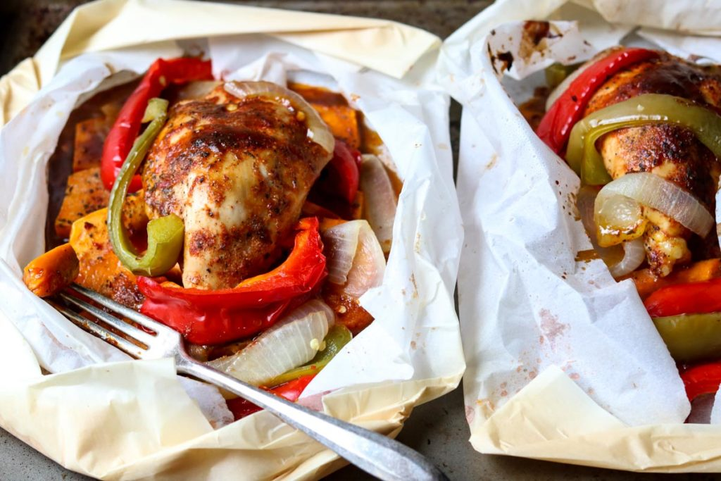 Barbecue Chicken in Parchment with Sweet Potatoes & Peppers -