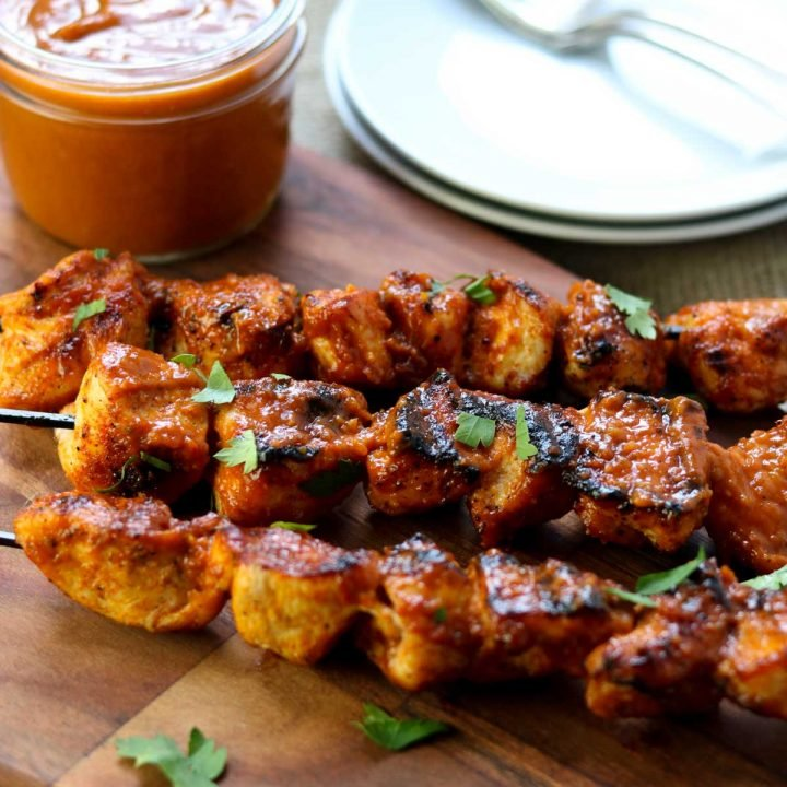 chicken kabobs with a bbq sauce coating