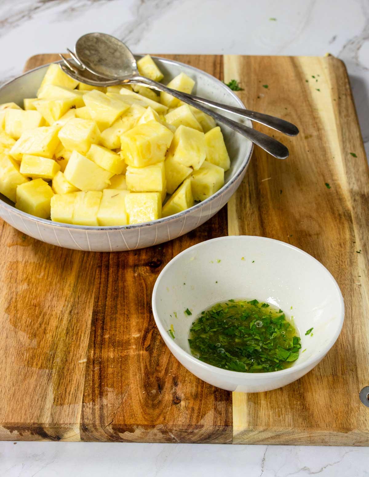 cilantro citrus marinade and cut pineapple