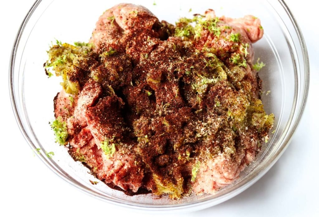 ground turkey with lime zest and spices