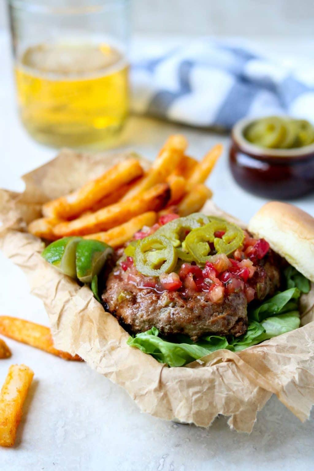 turkey burger with pico de gallo and jalapenos