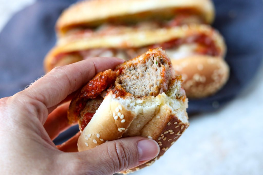 meatball sub with a bite taken out