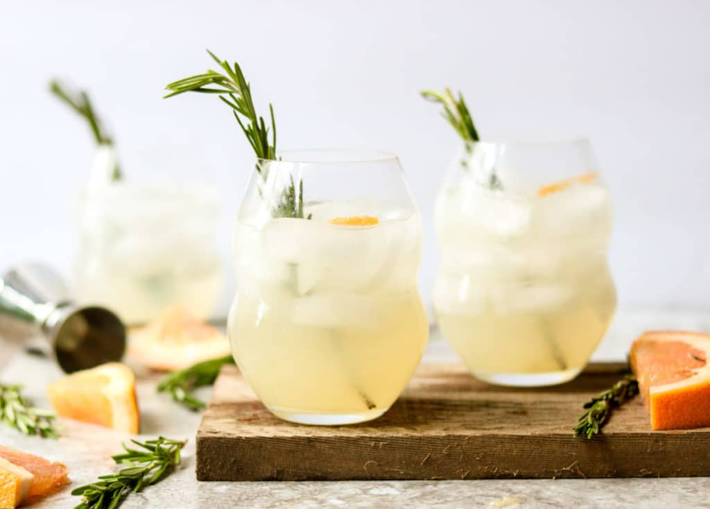 Rosemary Paloma Cocktail garnished with rosemary sprigs