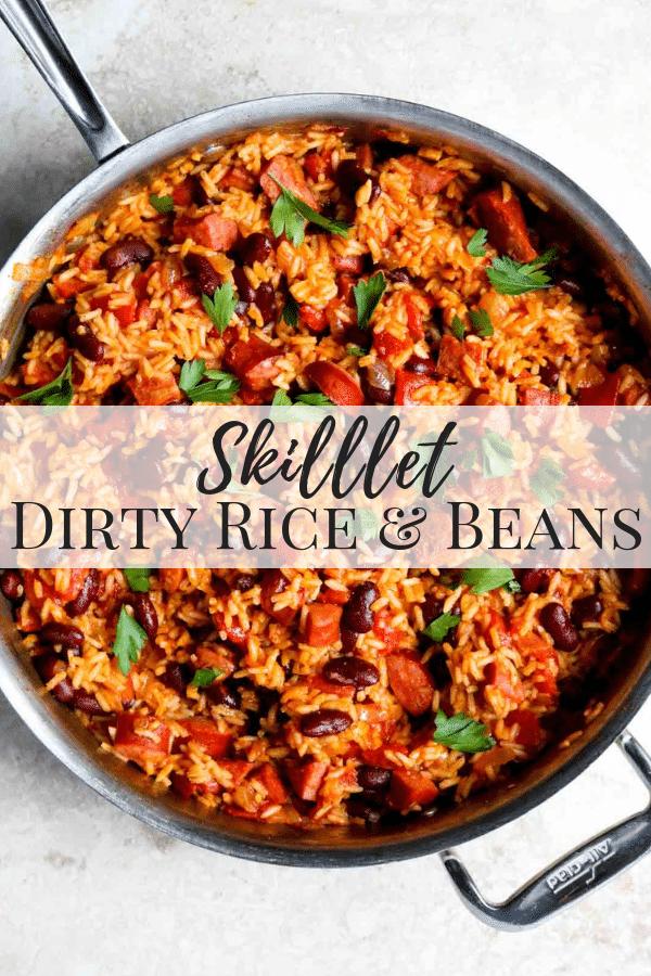 Skillet Dirty Rice & Beans Pinterest Image