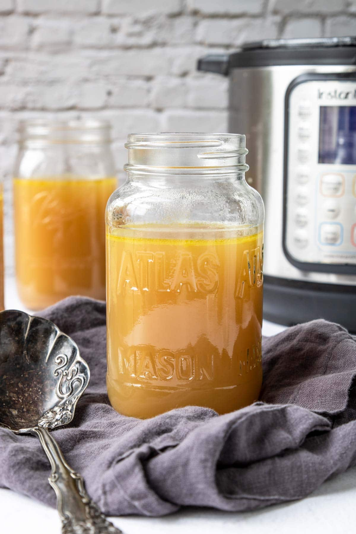 Chicken stock in mason jars with an instant pot