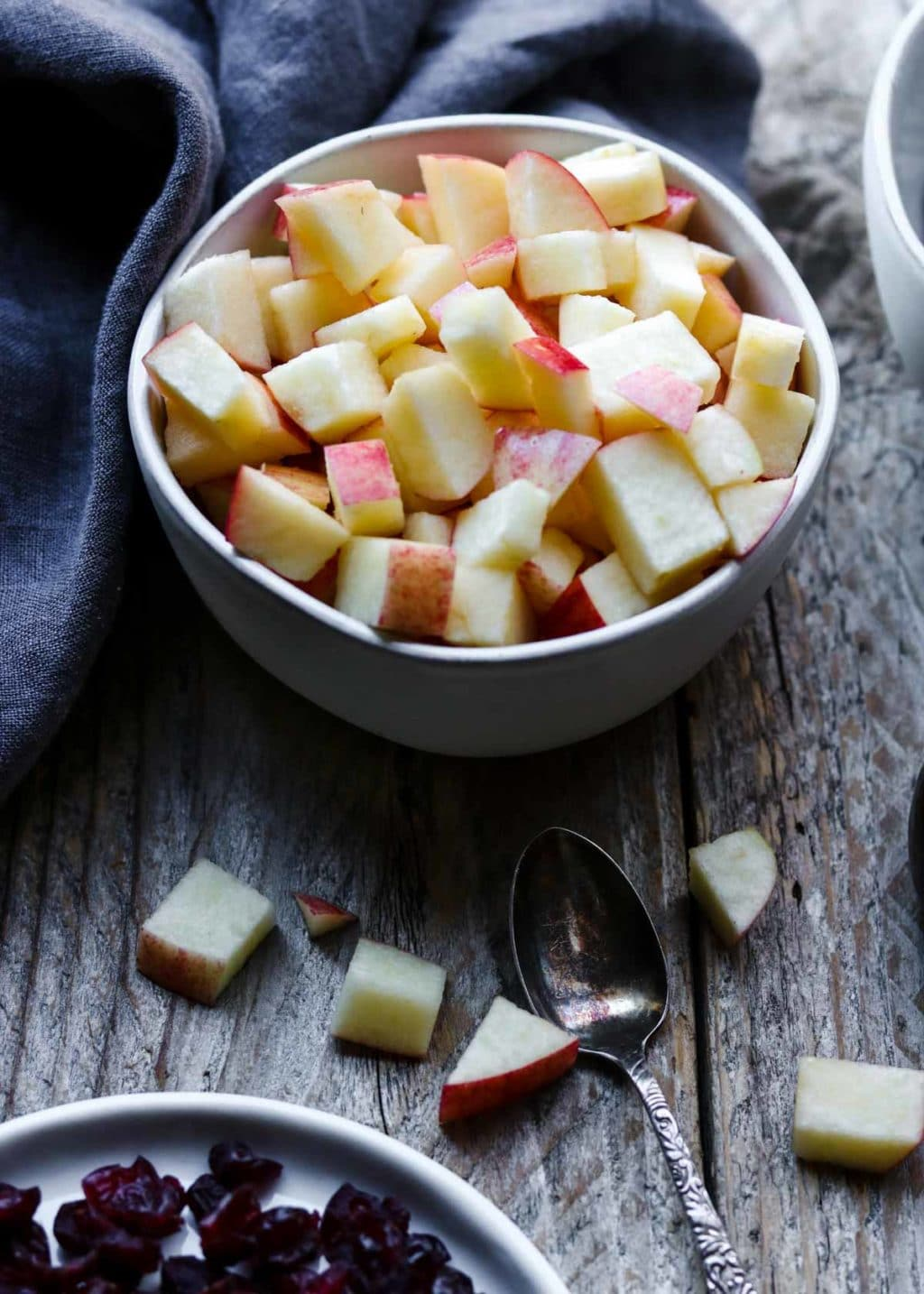 apple chunks in a bowl