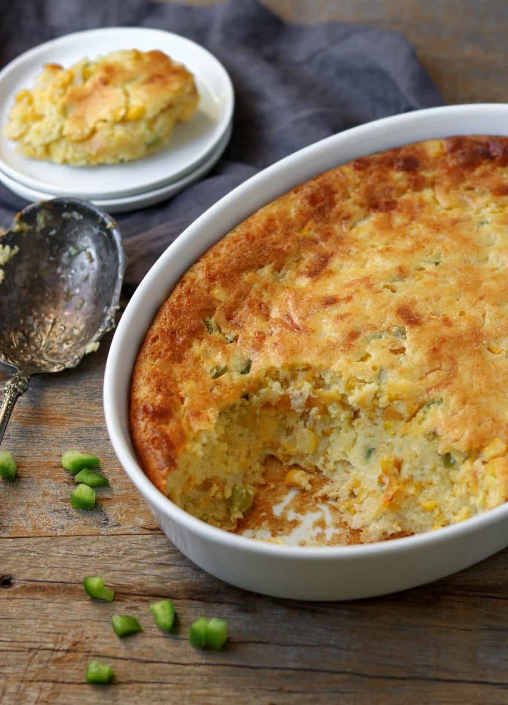 jiffy corn casserole in a baking dish