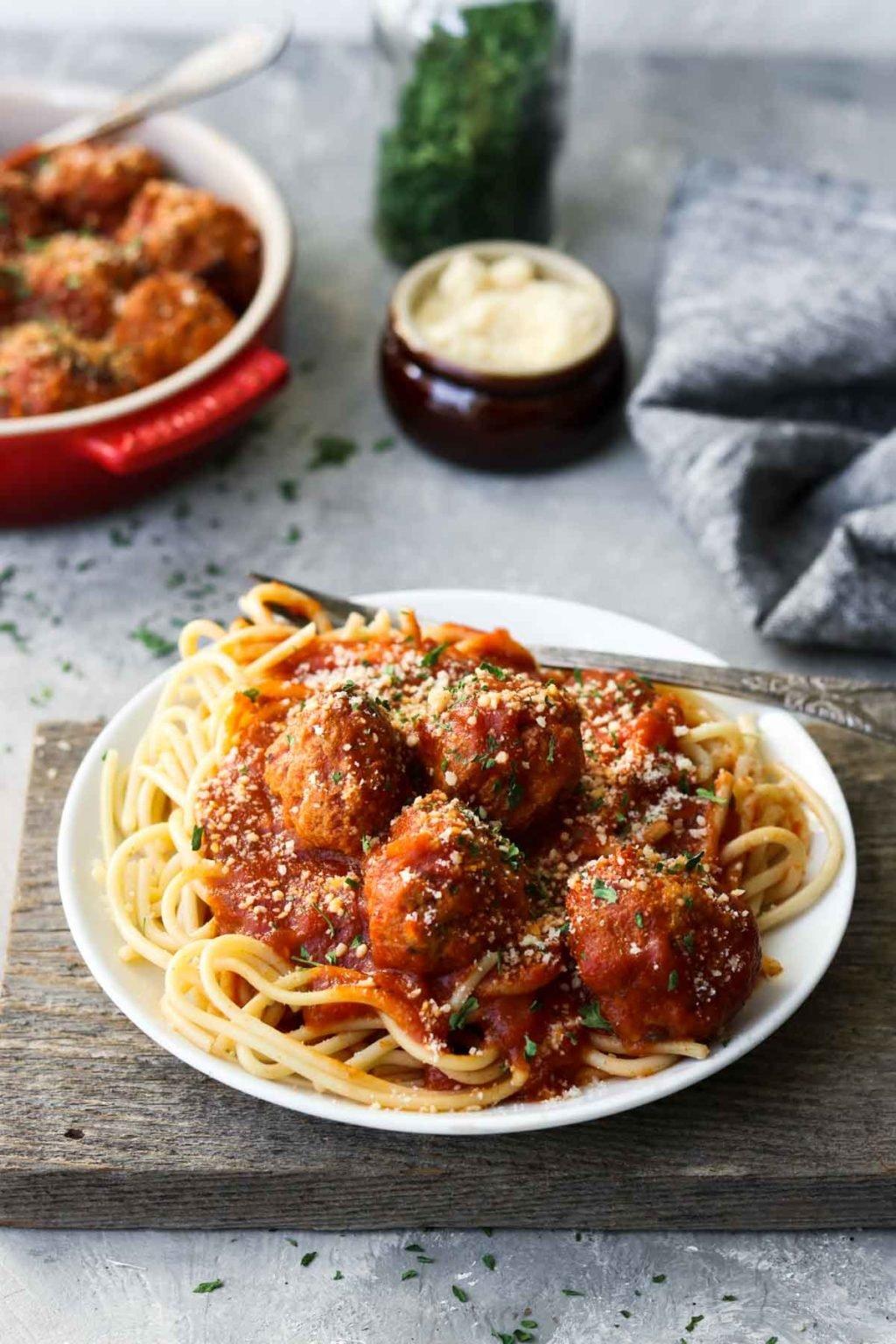 Instant Pot Turkey Meatballs on top of Spaghetti