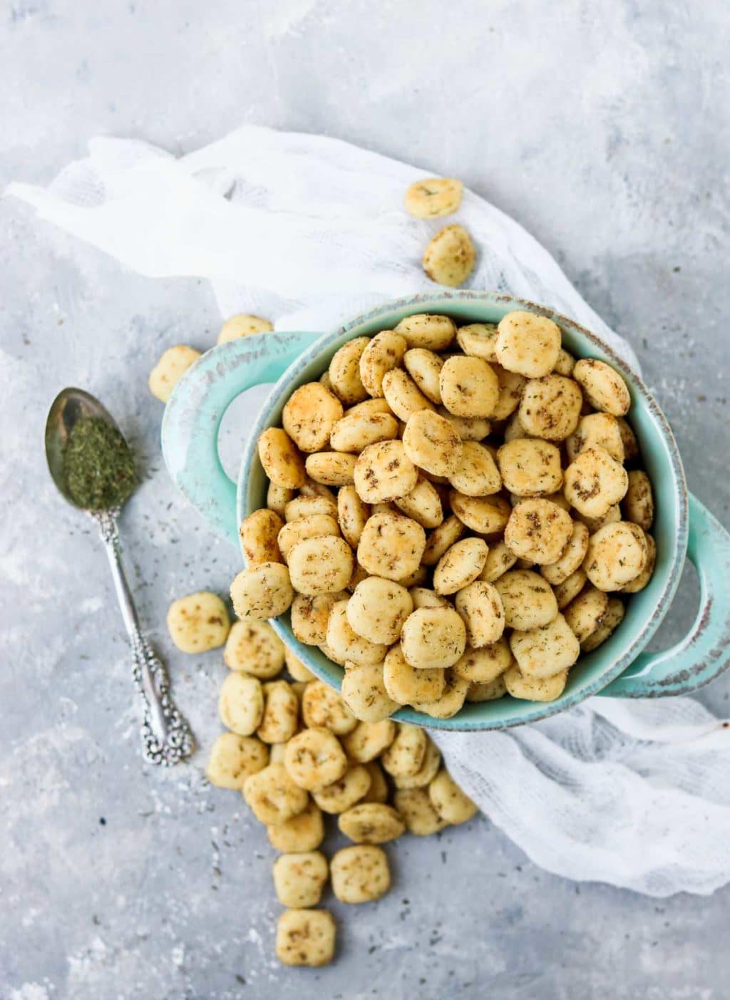 seasoned oyster crackers in a bowl