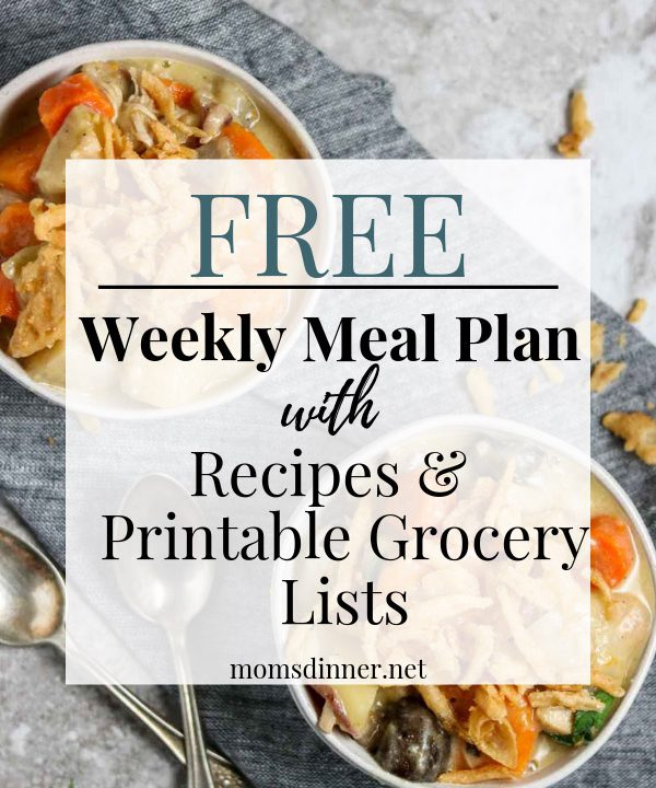 Free Meal plan and printable grocery list pin image
