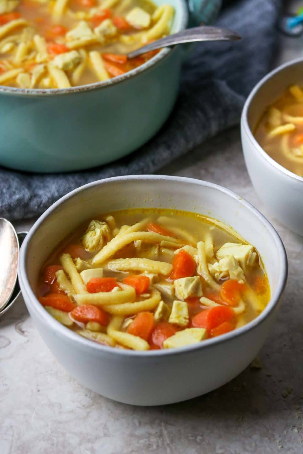 Kid Friendly Chicken Noodle Soup in a white bowl
