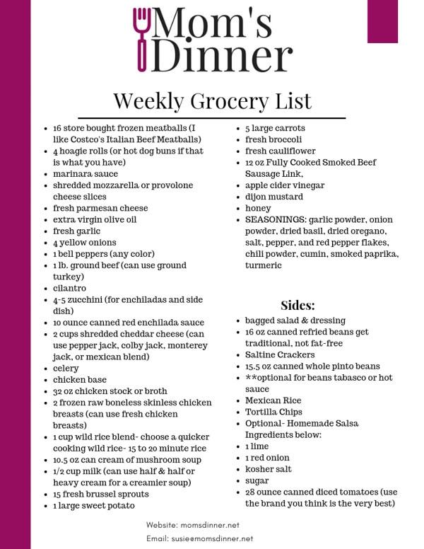 Feb 24th Meal Plan grocery list for moms dinner