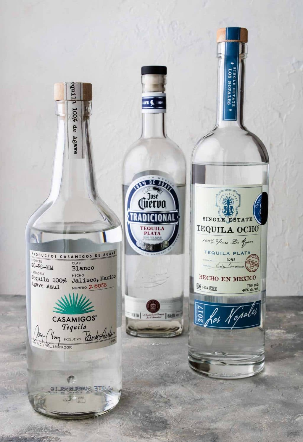 Three different kinds of tequila for Mexican Mules- Casamigos, Tequila Ocho, Jose Cuervo Tradicional