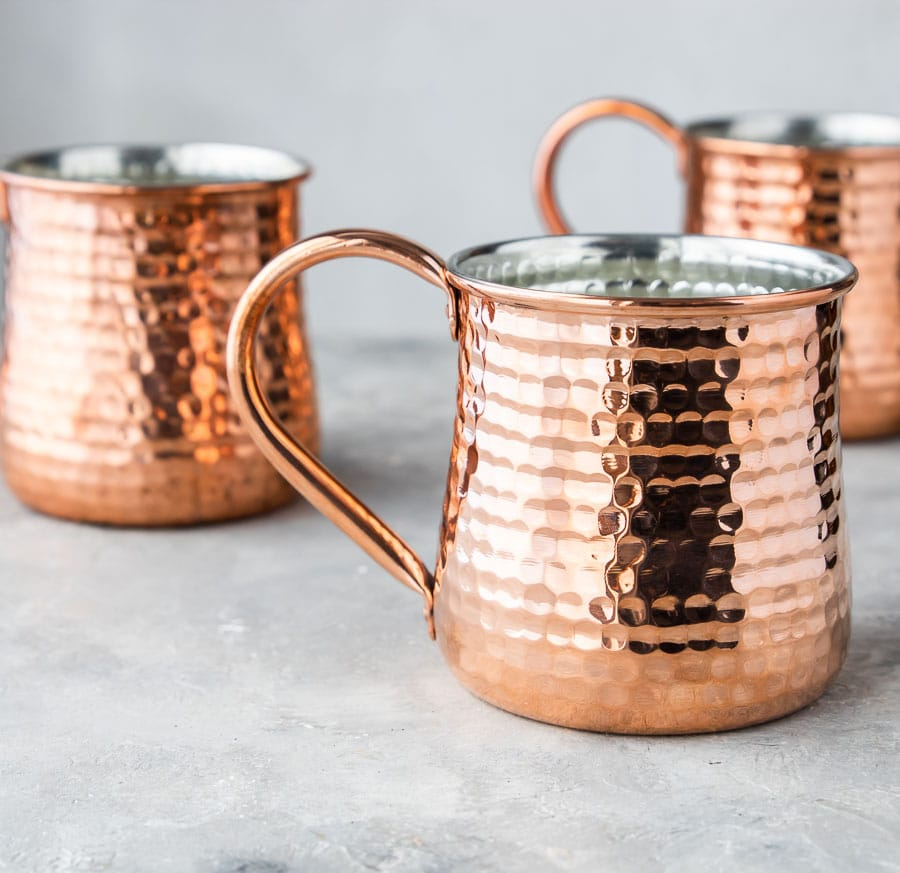 Copper Mugs from William Sonoma for making Mule Cocktails