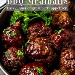 Instant Pot BBQ Meatballs in a bowl with pinterest text over top