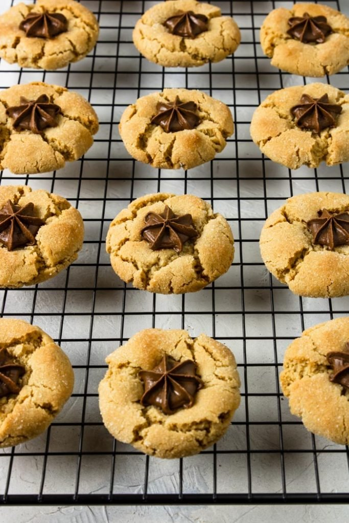 Chocolate Star Cookies cooling on a black rack