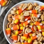 Candy Corn Snack Mix in a bowl with pinterest text over top