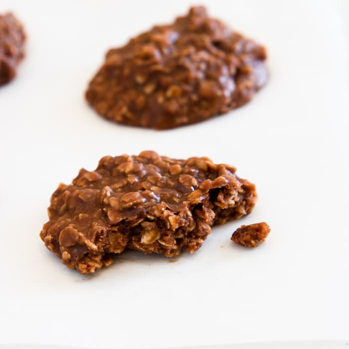close up of an easy chocolate no bake cookie with a bite taken out