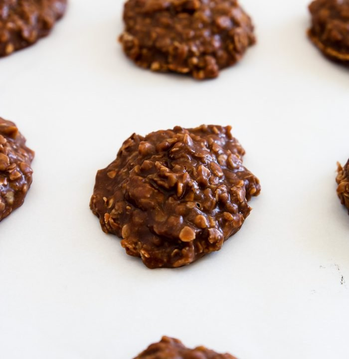 close up of no bake cookies on parchment