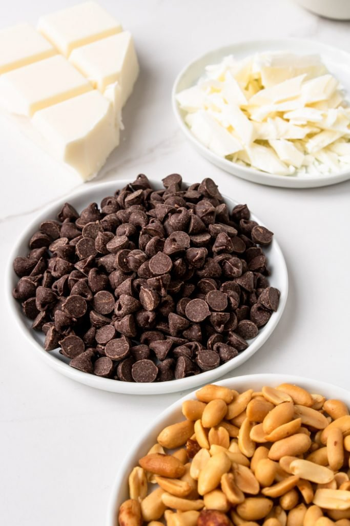 Peanut Cluster Ingredients - chocolate, almond bark, and salted cocktail peanuts
