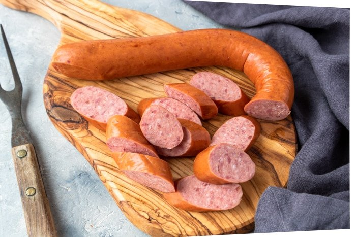 Beef smoked sausage cut into slices