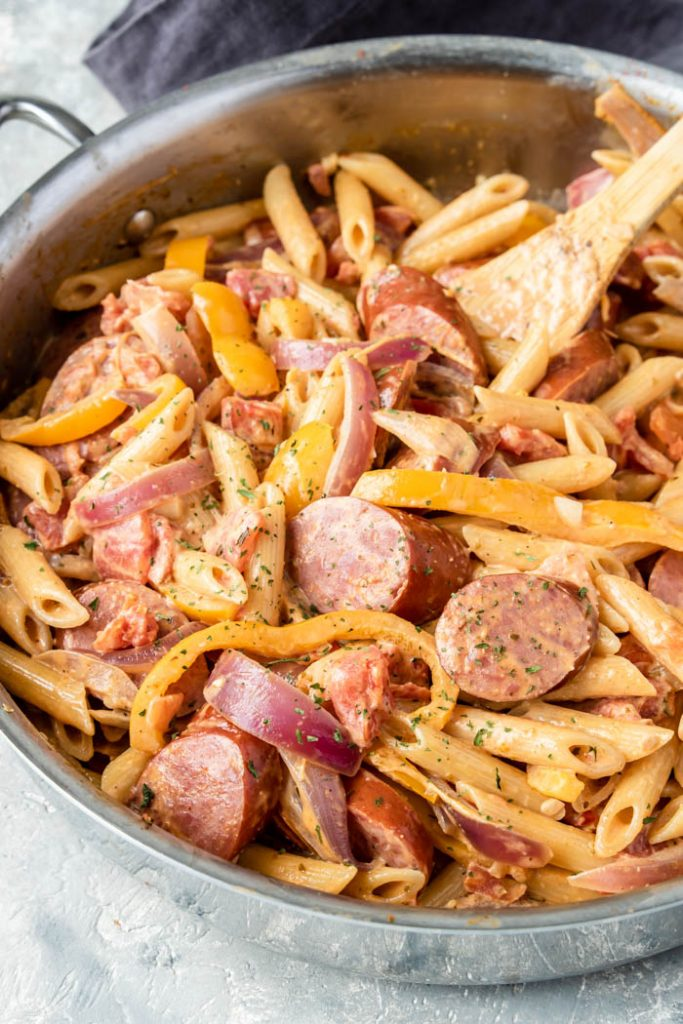 Creamy Cajun Pasta in a high sided skillet
