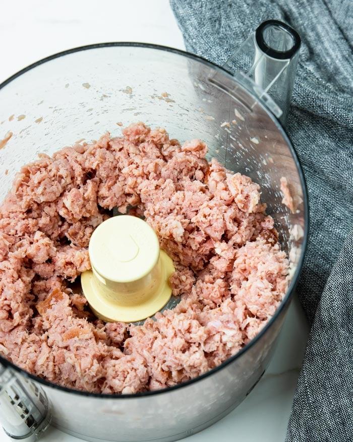 ham ground in the food processor