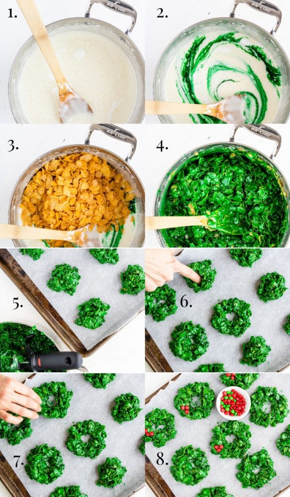 Step by step photos of how to make christmas wreath cookies - numbered 1-8