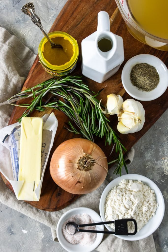 Ingredients for gravy without drippings on a cutting board