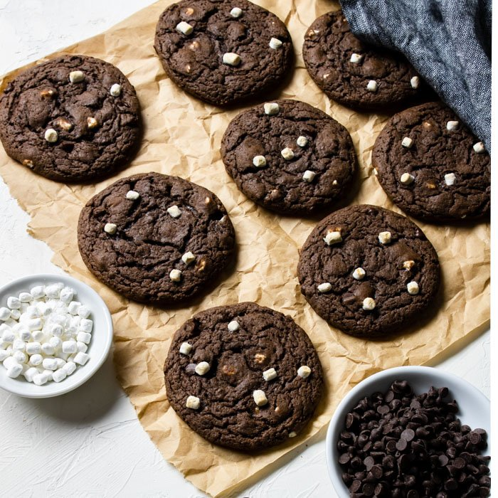 Hot Cocoa Cookies on brown parchment paper