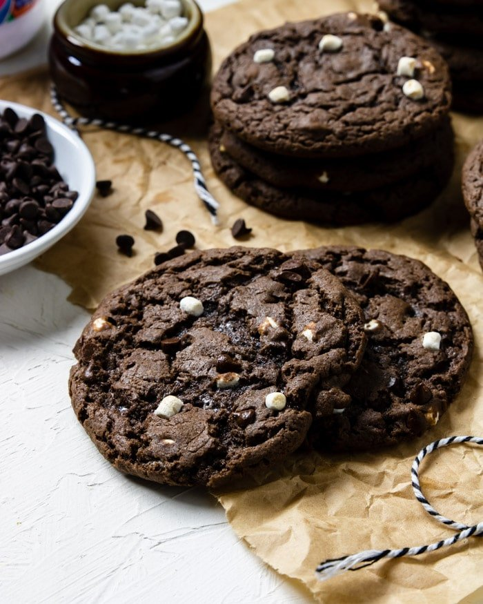 Fudgy hot cocoa cookies with marshmallow bits
