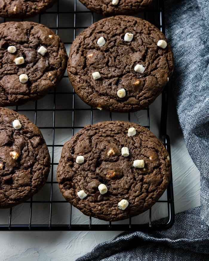 Hot Chocolate Cookies cooling on a rack