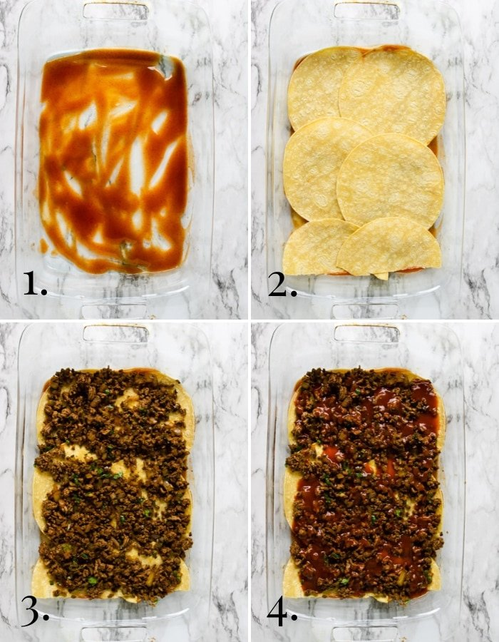 photos showing steps 1- 4 in layering a beef enchilada casserole