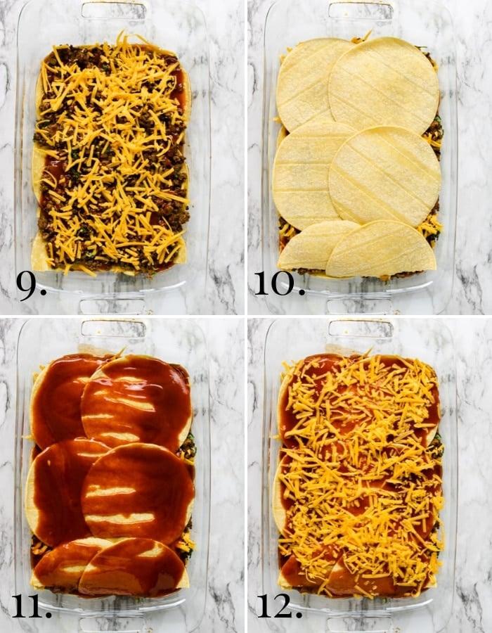 steps 9-12 photos showing how to make enchilada casserole