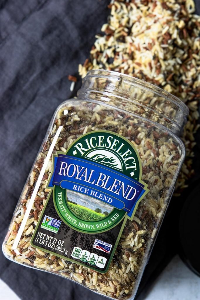 a container of wild rice blend