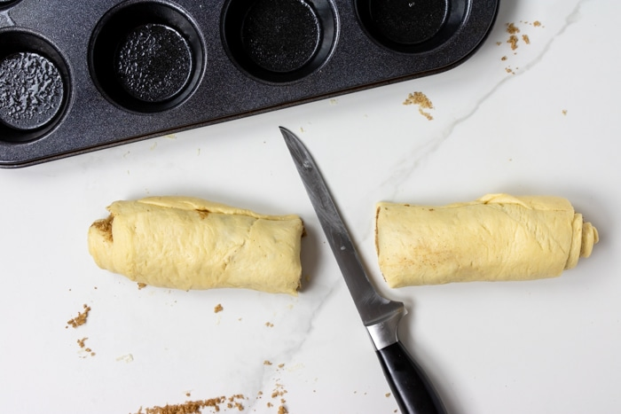 dough roll cut in half, two pieces