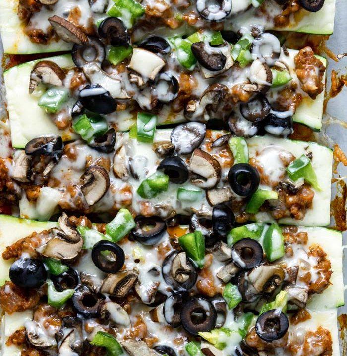 Baked Zucchini Pizza Boats