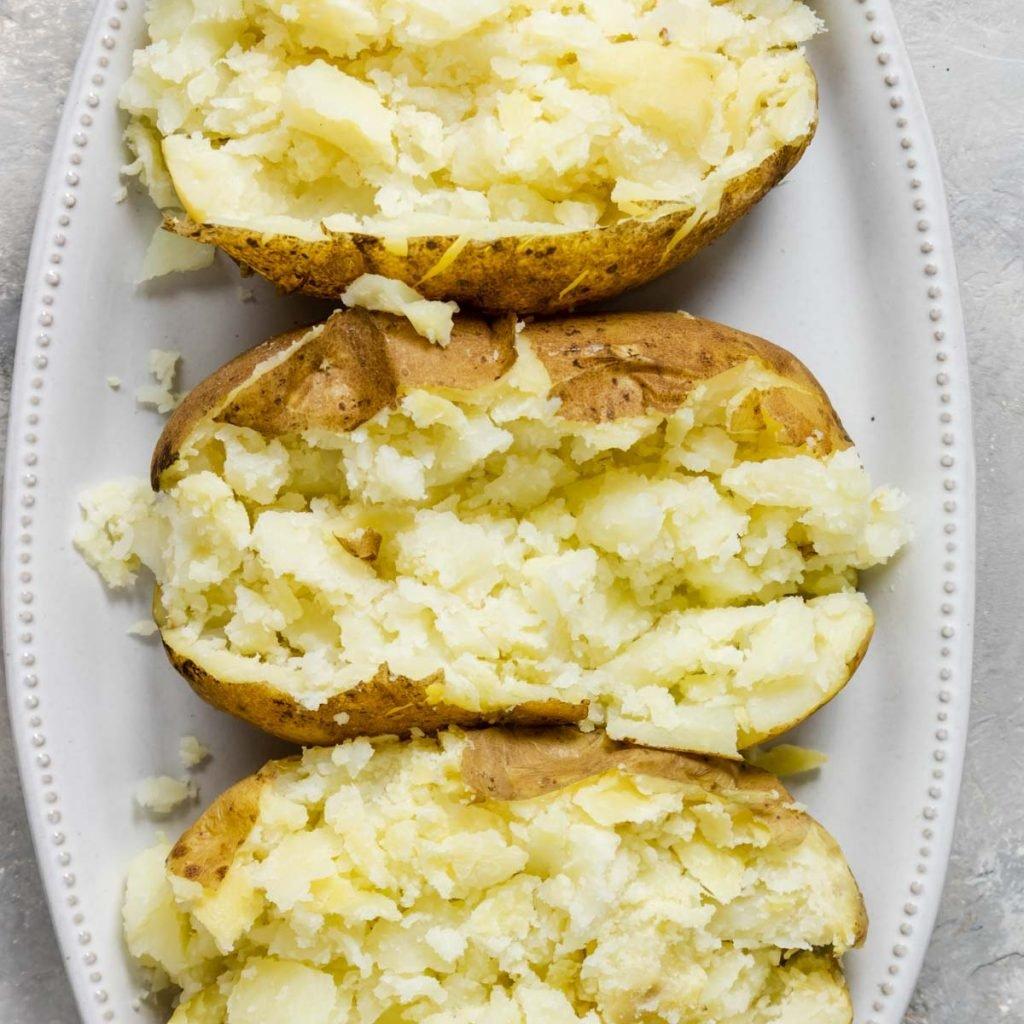 instant pot baked potato cut open