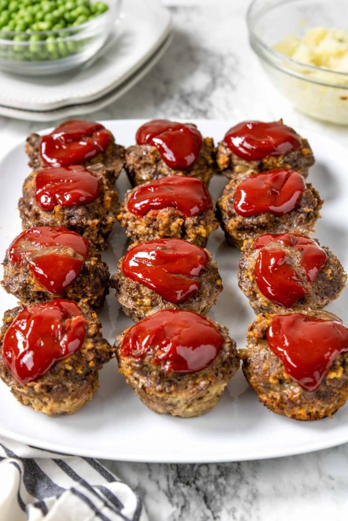 meatloaf cups on a white plate ready to be served